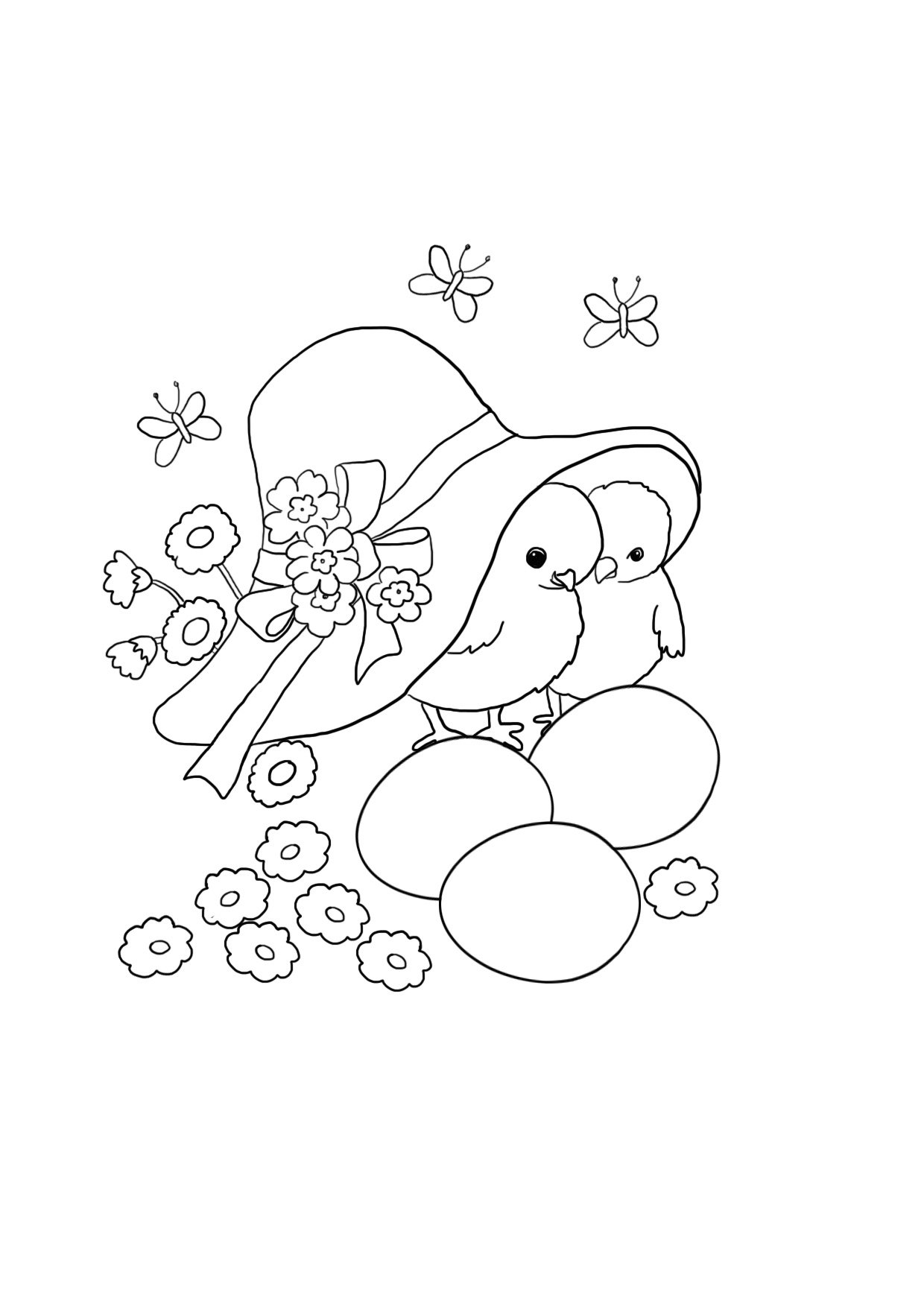 Easter coloring sheet with chickens and flowers