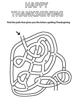 letter maze for Thanksgiving
