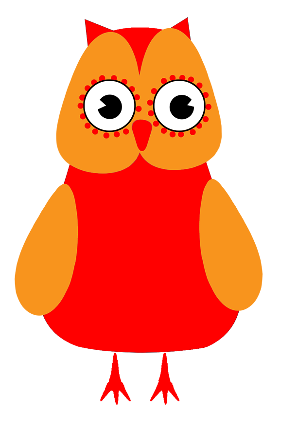 funny red and orange owl clipart