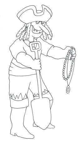 pirate printables pirate with treasure and spade