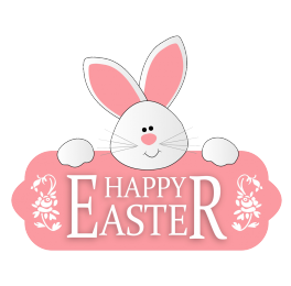Happy Easter greeting with cute bunny banner