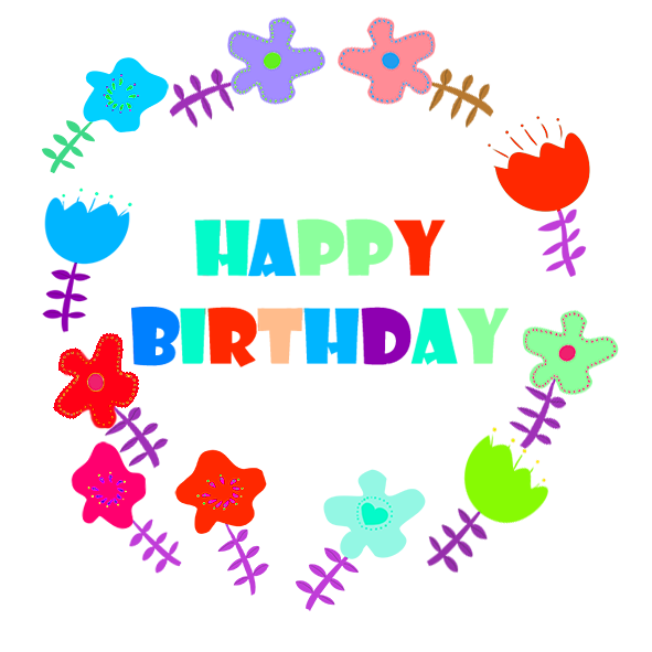 Happy Birthday greeting flowers