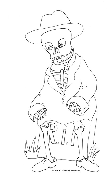 halloween printables skeleton on gravestone