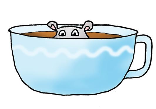 cartoon hippo in coffe cup