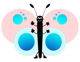 cute pink cartoon butterfly