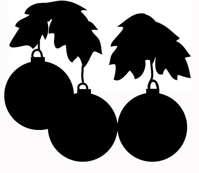 Christmas tree decorations silhouette
