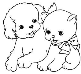 simple coloring page cat and puppy