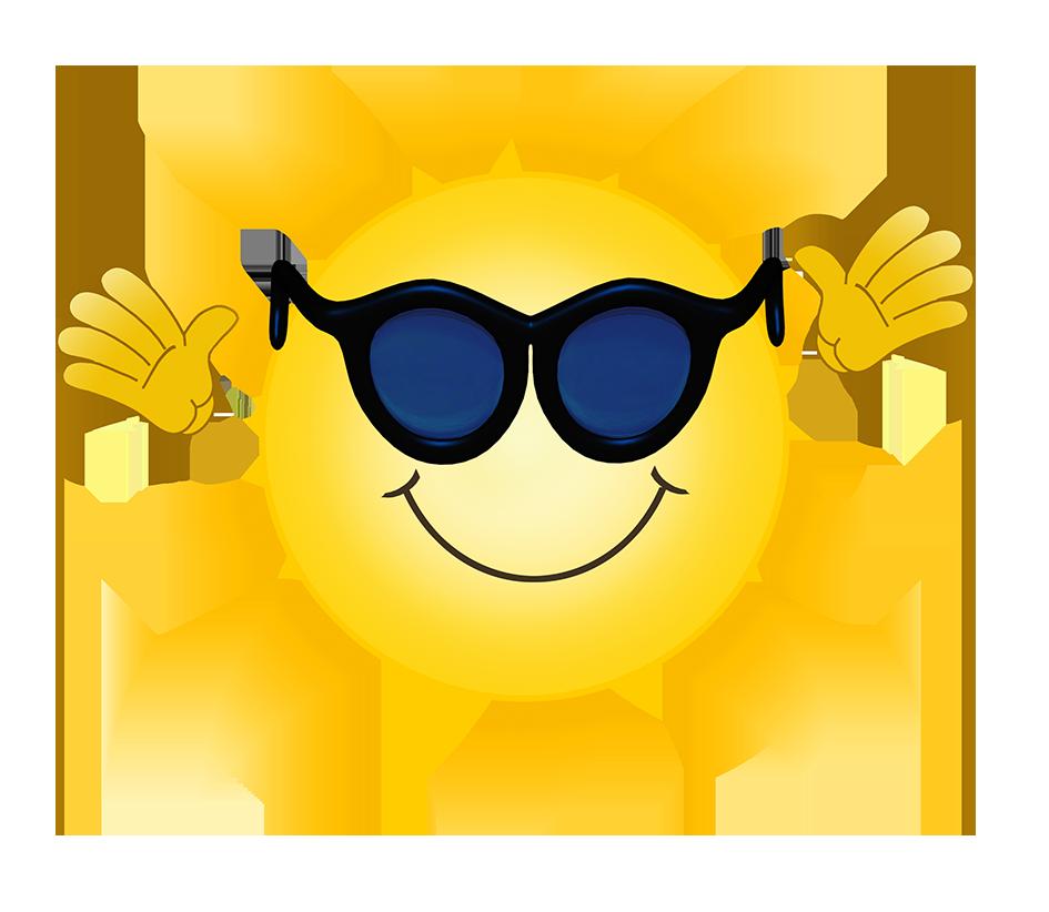 cartoon sun with sunglasses waving
