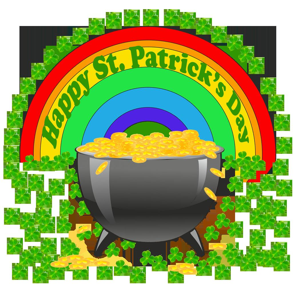 happy St. Patrick's day greeting cauldrong shamrock