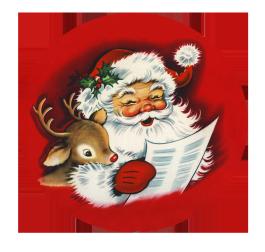 Santa and reindeer reading wish list