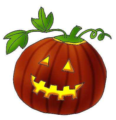 Halloween clip art pumpkin with leaves