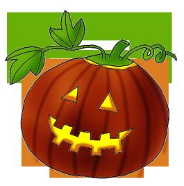 Halloween clip art pumpkin with leaves