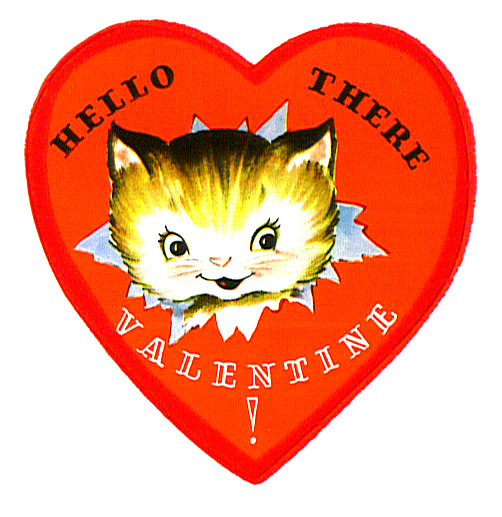 kitten in heart Valentine greeting