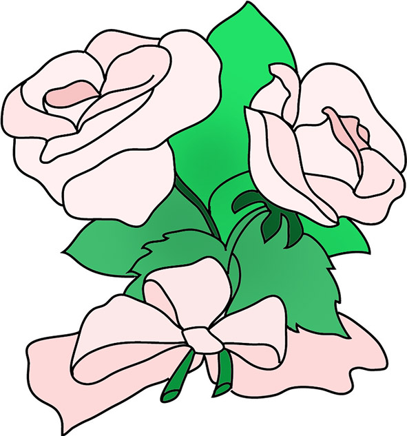 flower images pink roses pink bow
