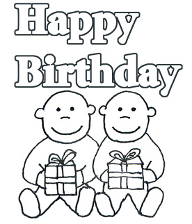 happy birthday twins black white