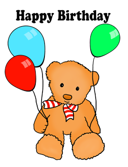 cute happy birthday greeting teddy balloons