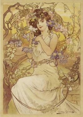art nouveau picture woman flowers