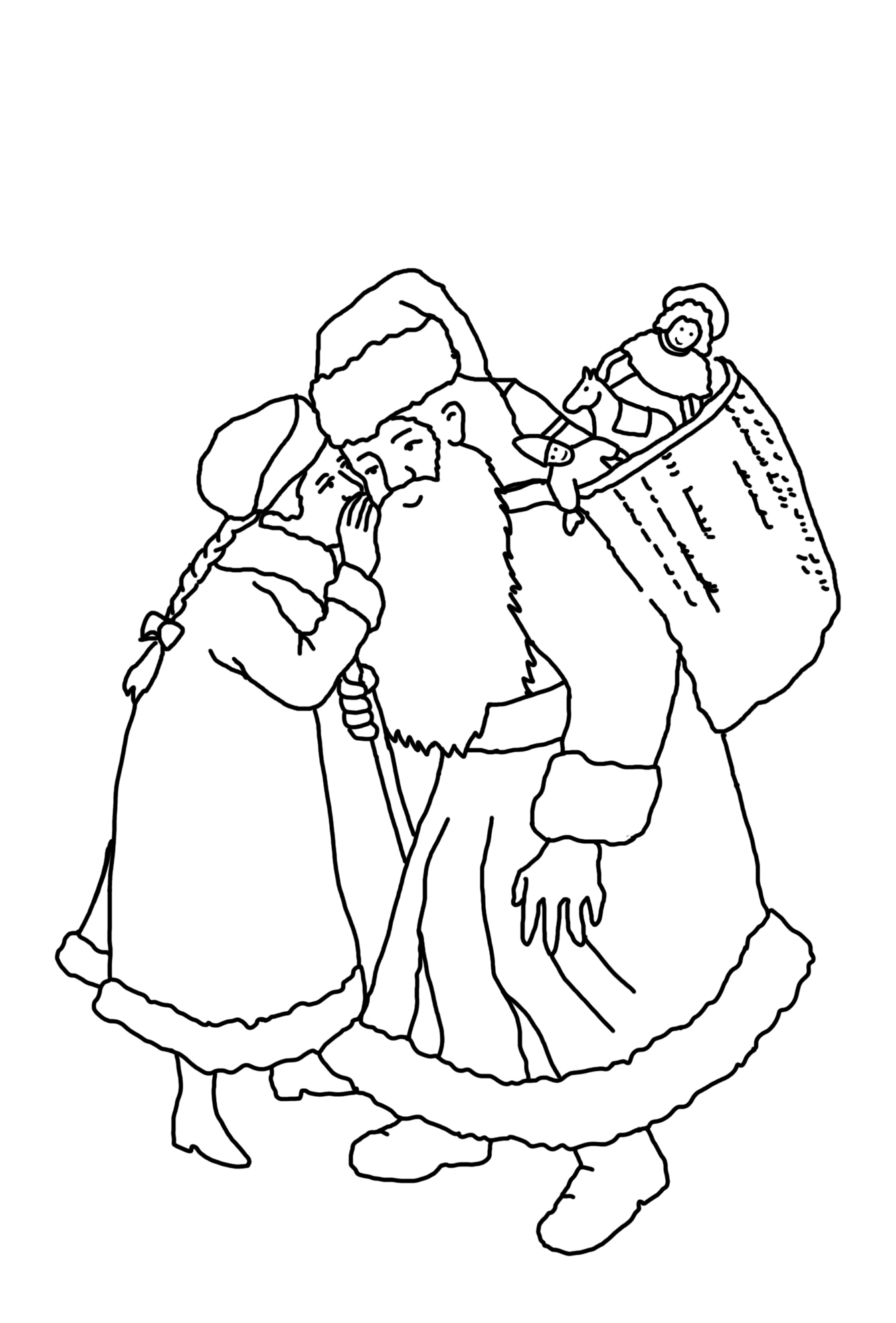 christmas coloring pages girl with santa claus