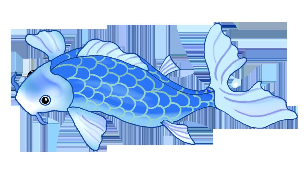 koi fish drawing very blue