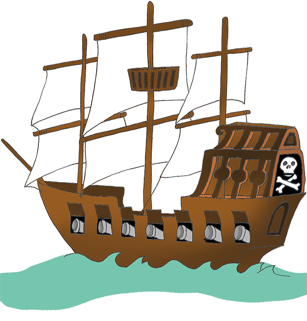 pirate ship with flag