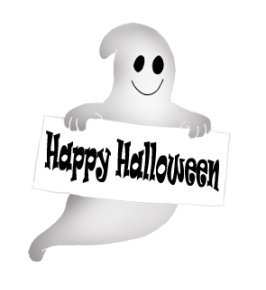 Happy Halloween ghost with sign