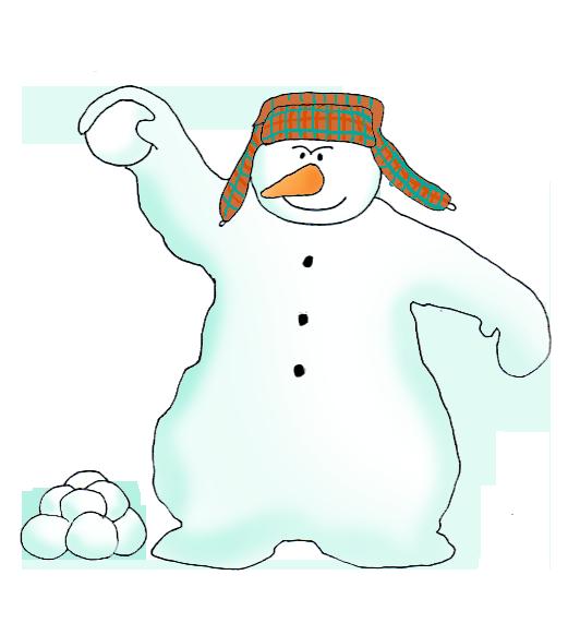 evil snowman throwing snowballs
