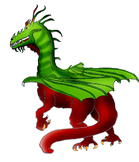 cool dragon caped red and green