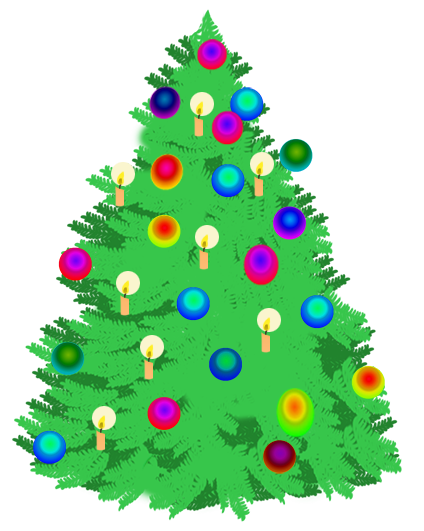 Christmas tree with lighted candles