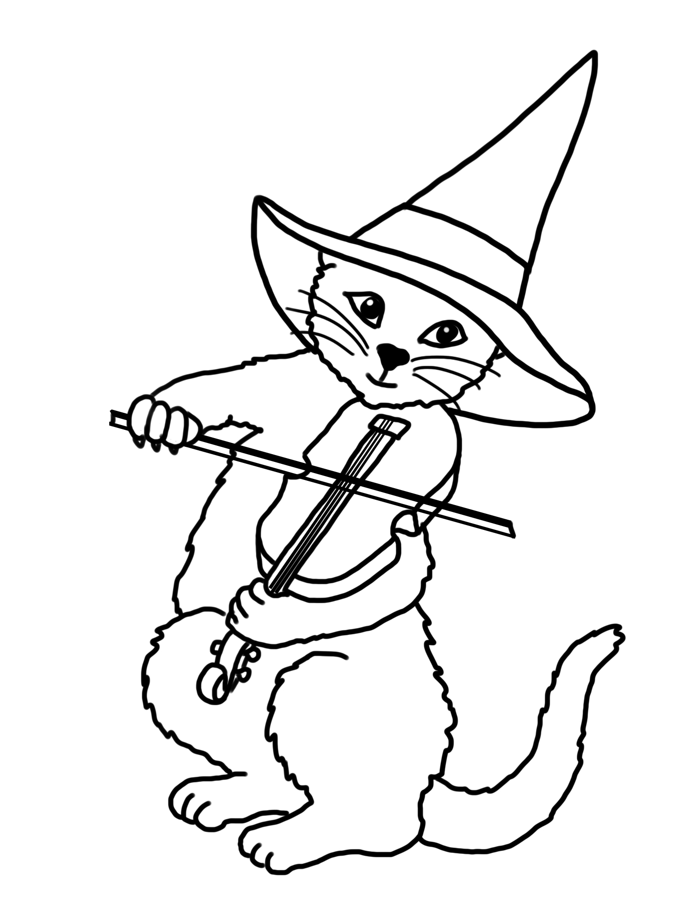 Cat drawing with violin