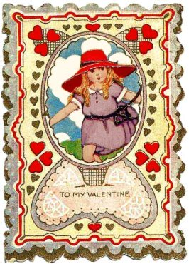 vintage Valentine card gir and patterne red love hearts