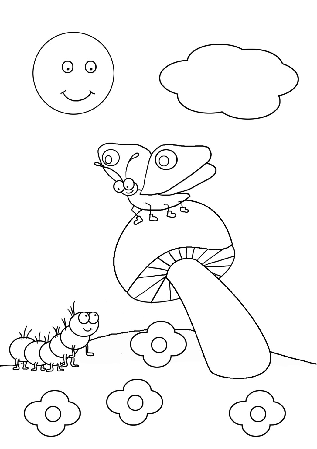 caterpillar and butterfly drawing