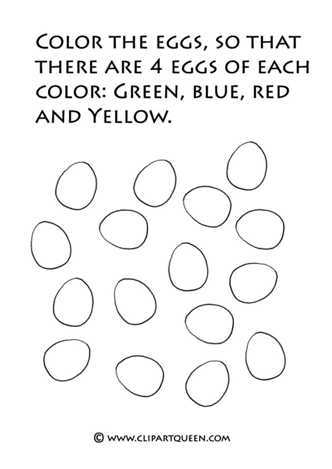 Easter coloring pages eggs in different colors