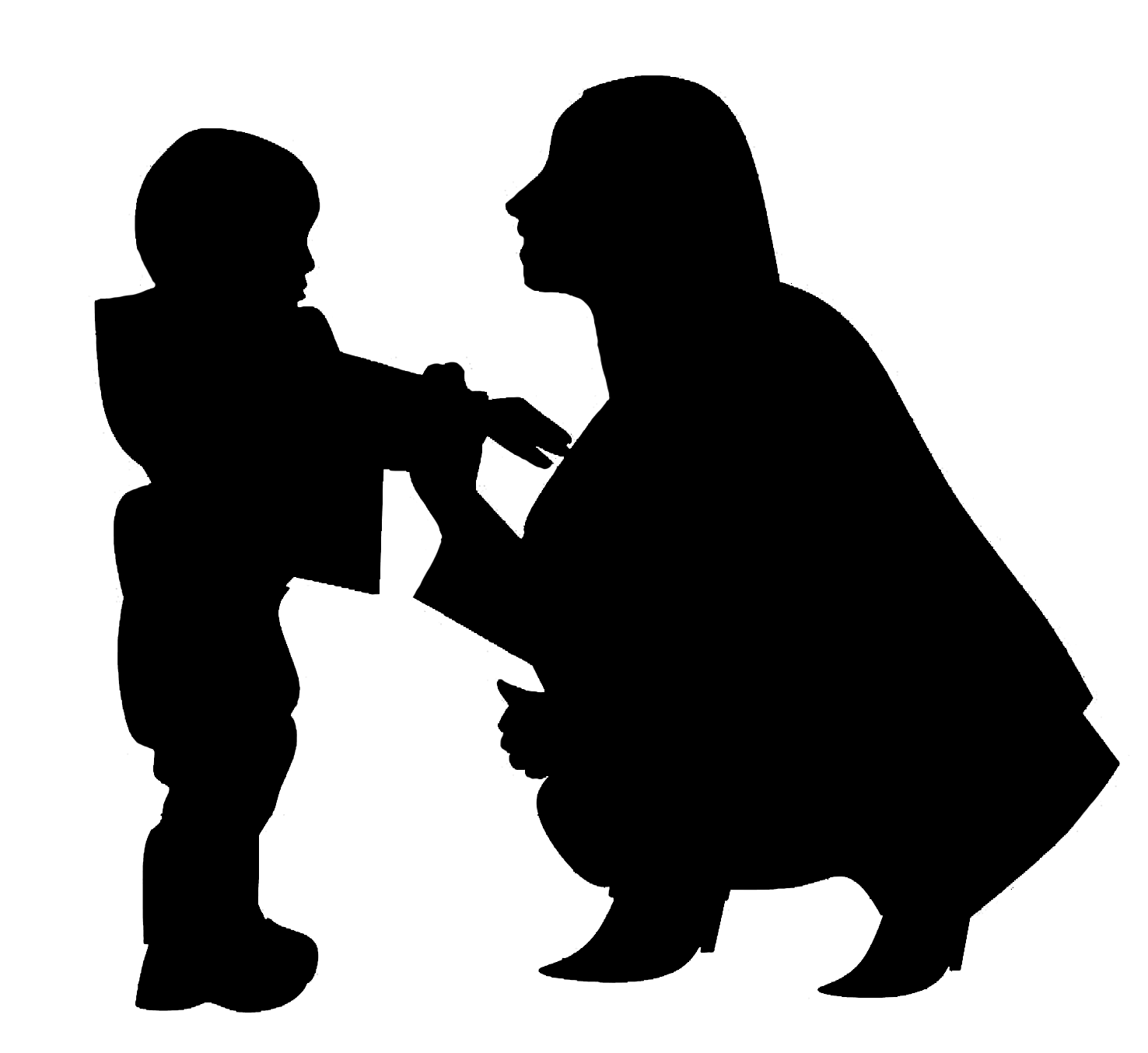 silhouette of mothre and toddler