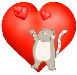 cute cat catching love hearts