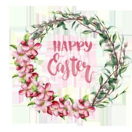Happy Easter wreath pink flowers