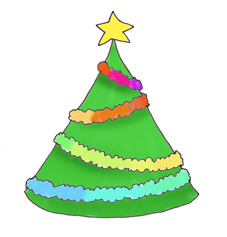 Multicolored Christmas tree decorations