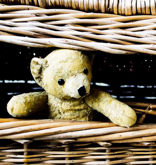 Old teddy bear in basket
