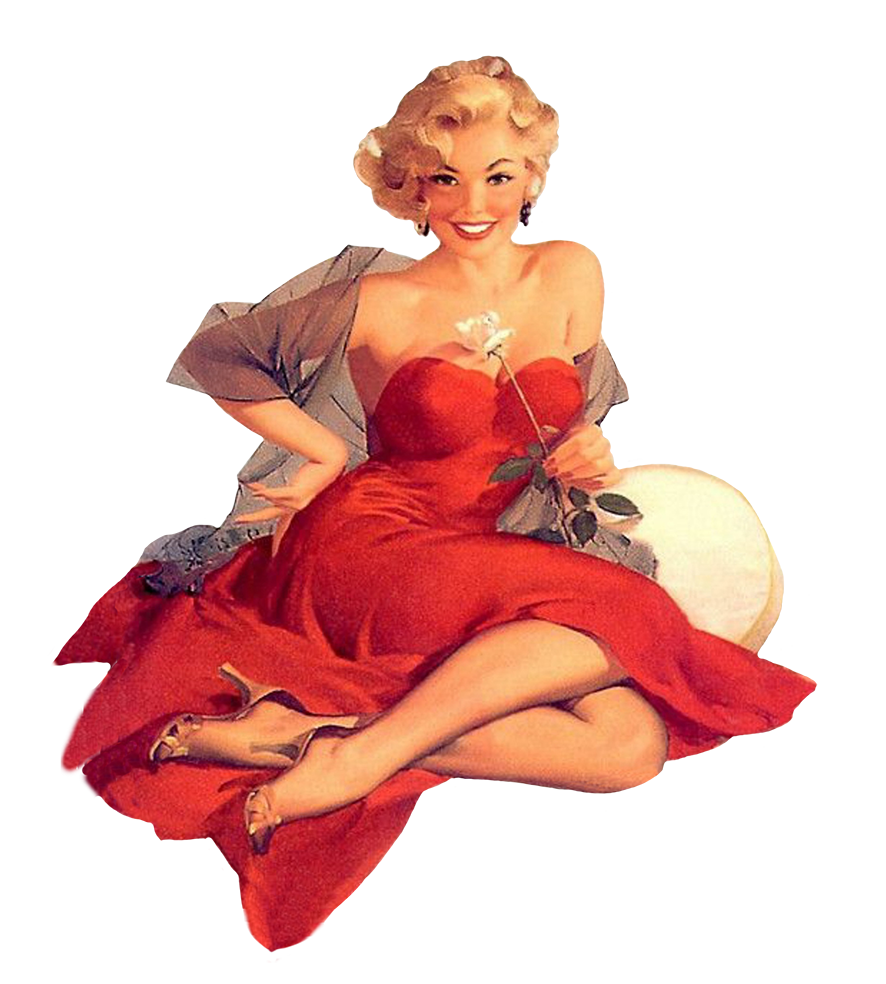 Vintage clip art women in red retro