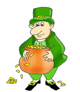 leprechaun with gold in a pot