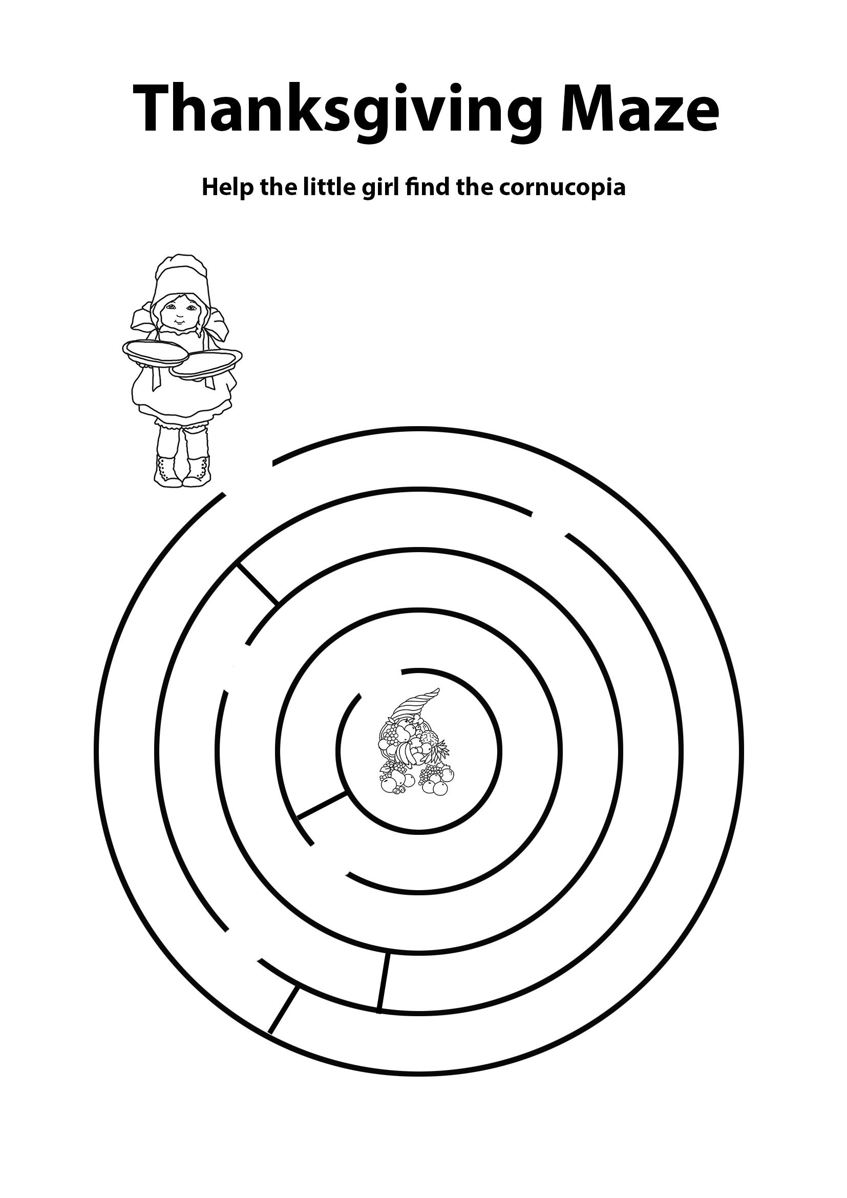 Thanksgiving mazes with girl and cornucopia