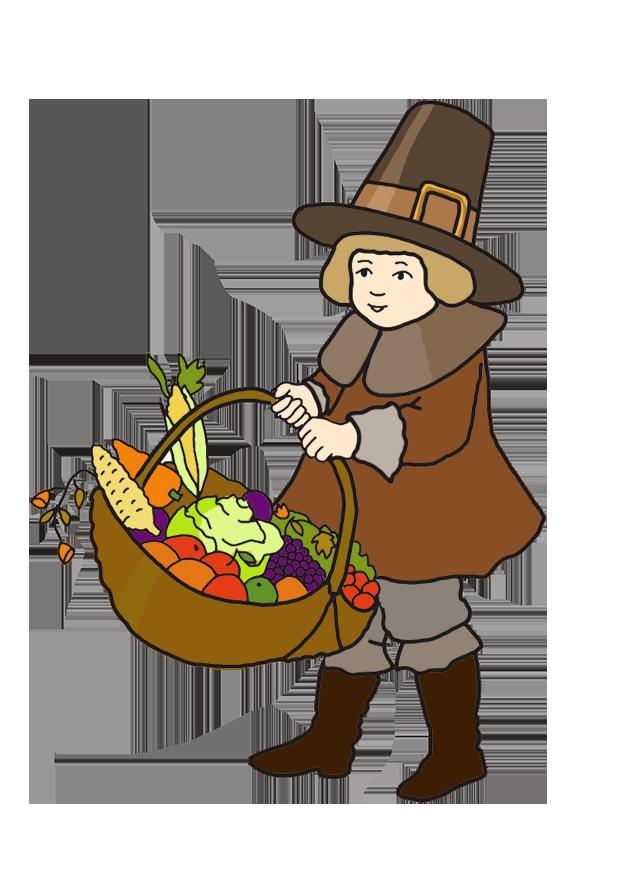 Pilgrim boy with Thanksgiving harvest