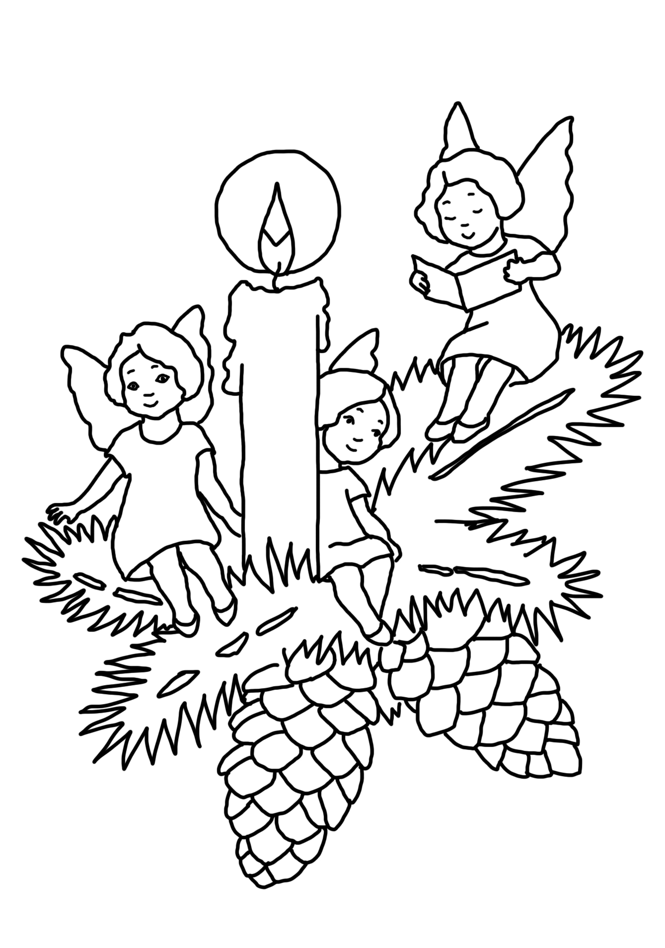 coloring page with christmas candle and angels