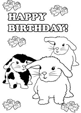 coloring page to print bunnies birthday