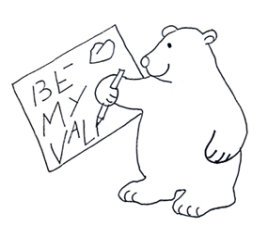 be my Valentine letter bear sketch