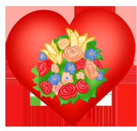 Valentine heart with flower bouquet