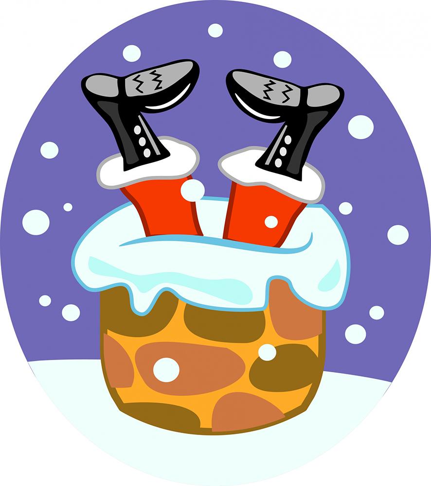 funny Christmas clip art with Santa chimney