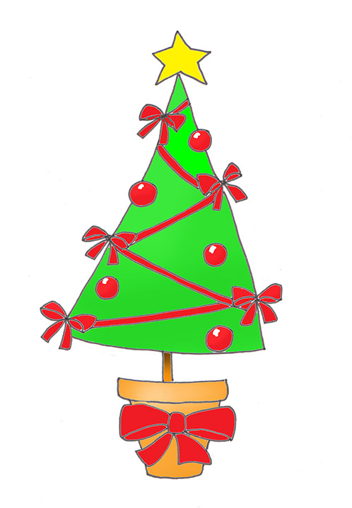 Christmas tree clip art red decoration ribbons