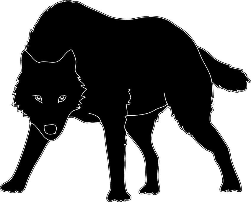 black white wolf silhouette