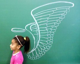cute model pupil with wings