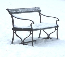 winter pictures bench in snow